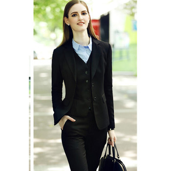 Custom made Black Lady Office Suits Long Sleeve Three-Pieces Business suits High Quality Designers suits
