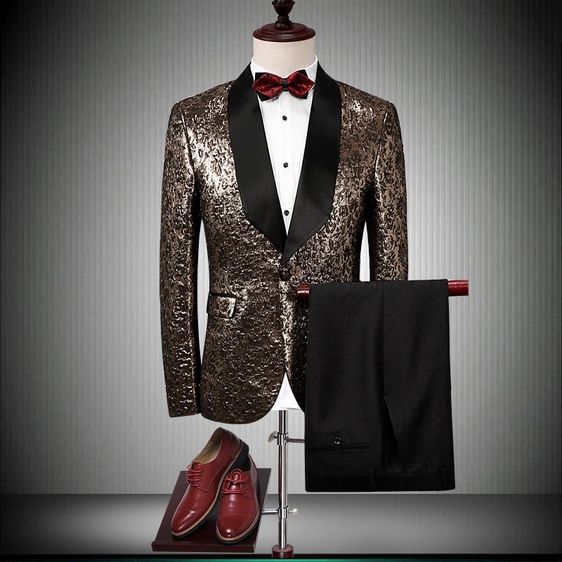Мужские свадебные костюмы 2018 роскошный бренд черный Шаль Воротник Золотой смокинг куртка дизайнерские костюмы для выпускного вечера после