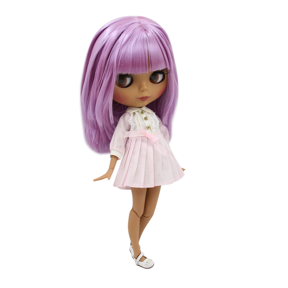 ICY Fortune Days factory doll with black skin joint body and matte face purplr curly hair