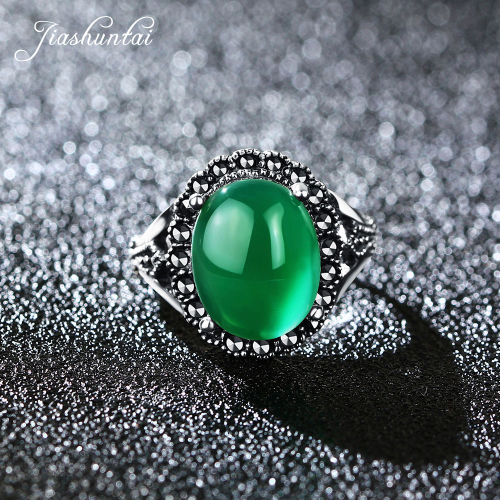 JIASHUNTAI Retro 925 Sterling Silver Rings For Women Round Vintage Thai Silver Jewelry Green Stone Female 925 pure silver jewelry vintage green natural stone thai silver female royal wind ring rich