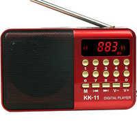 Digitale Radio Fm Mini Portatile Fm Radio Speaker Music Player Antenna Telescopica Vivavoce Tasche Ricevitore Esterno di Sport Kk-11