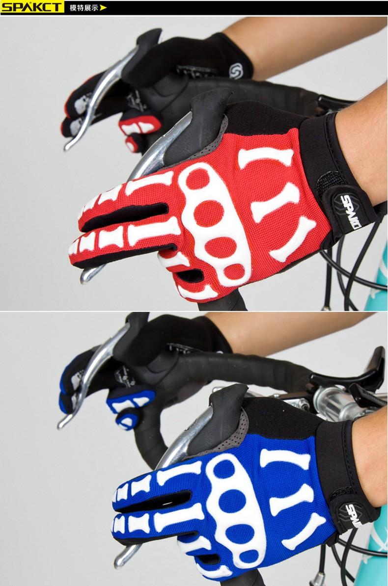 New Cycling Gloves Brand Silicone GEL Full Finger Gloves Skull Bike Bicycle Men Anti Slip Sweat for MTB Riding Green White Black (8)