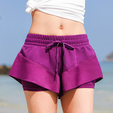Yoga Shorts Workout Clothes for Women Gym Training Exercise Fitness Clothing Fake Two Piece Sports Shorts female Athletic Wear