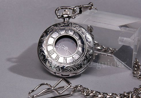 Rare 18 Century Style Stainless Steel Case Quartz Pocket Watch