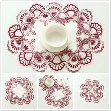 European Pastoral Lace Embroidered Placemat Simple Style Table Cloth Coffee Cup Mat Christmas Wedding Party Decoration Pad