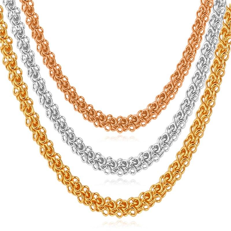 286c7b03a Kpop الملتوية قلادة للرجال الأصفر الذهب/فضي اللون سلسلة مجوهرات الأزياء  والمجوهرات عالية الجودة خمر n614