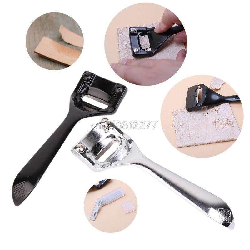 DIY Handgemachten Leder Werkzeug Edelstahl Ausdünnung Schäl Messer Graben Schaufel # H0VH # Drop verschiffen