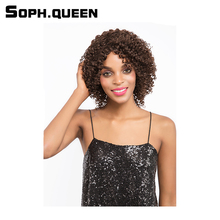 Soph queen Hair Unprocessed Remy Human Hair Wig Brazilian Curly Hair Wig #4 Color Short Hair Wig10Inch