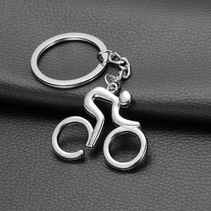 Metal Sporty Man Road Bicycle Figure Keychain Keyring Trinket Souvenirs Creative For Bike Cycling Lover Biker(China)