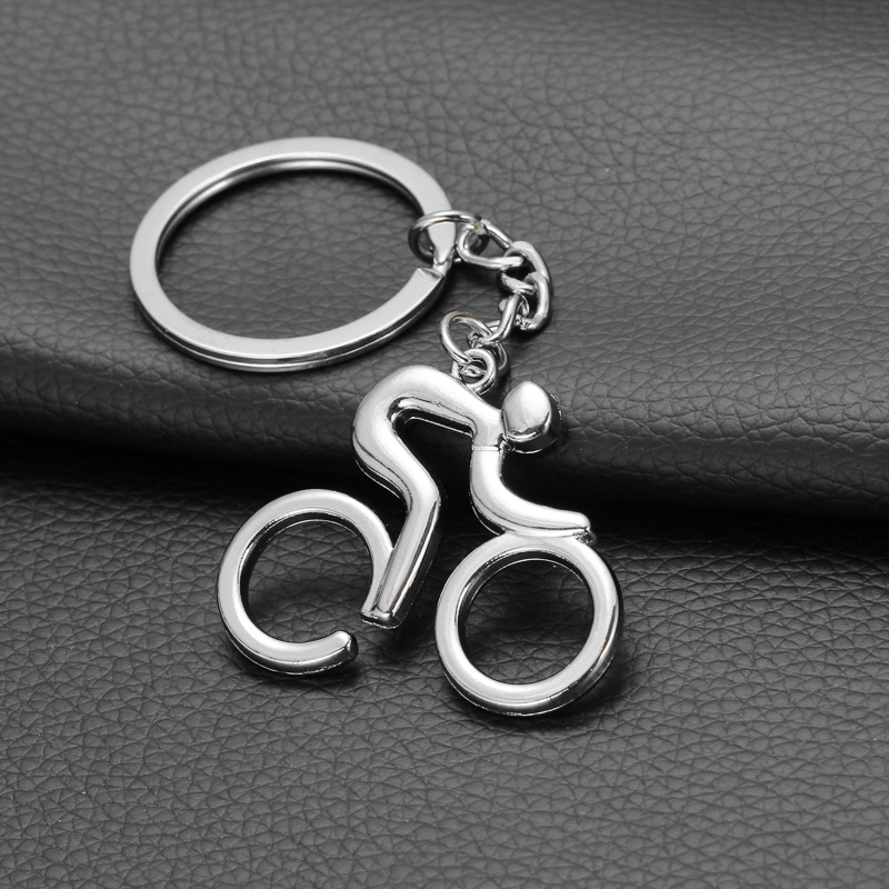 Metal Sporty Man Road Bicycle Figure Keychain Keyring Trinket Souvenirs Creative For Bike Cycling Lover Biker