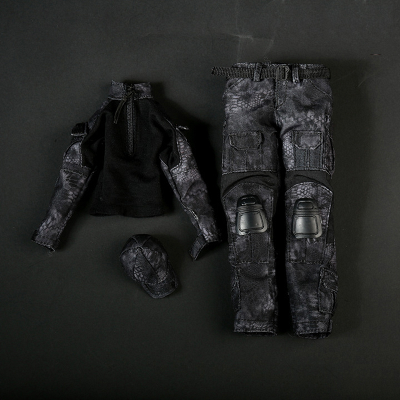1/6 FG005 Female Black Python Camouflage Combat Uniforms Clothes Models For 12 Inches Action Figure Accessory