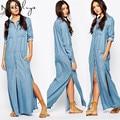 Makuluya 2016 высочайшее качество женщины жан платья Европа сплит джинсы карман сс тонкий платье женский LYQ-85-50