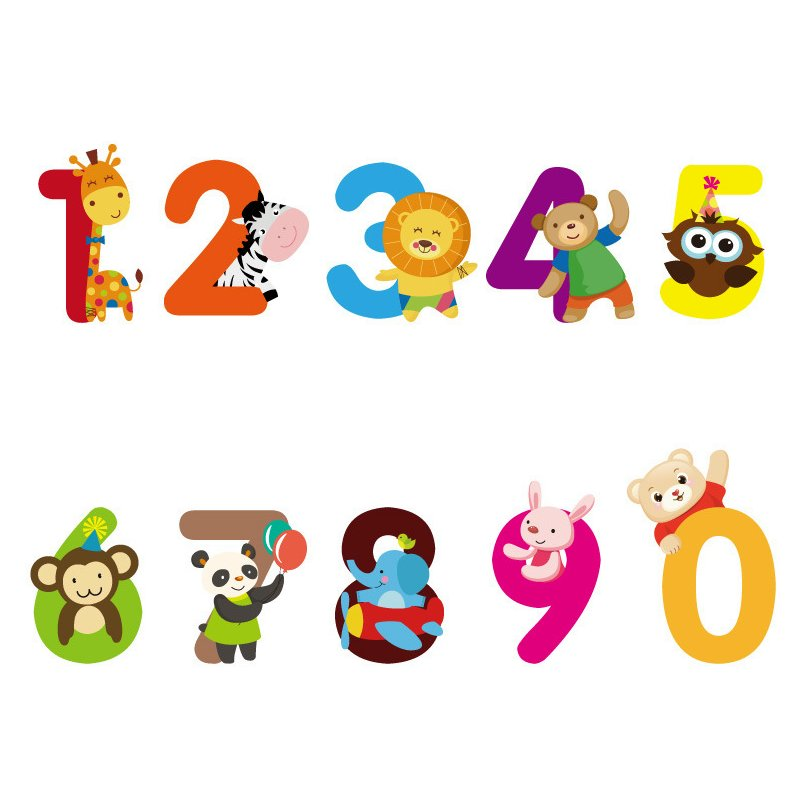 1 Set Cute Home Decor PVC Cute Numbers Animals Wall Sticker Children Bedroom Baby Room Removable Reusable 3.3 x 3.5 ETQT0027