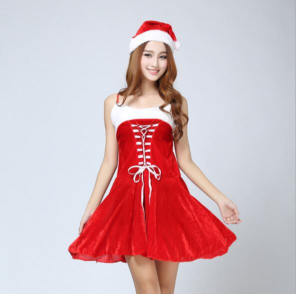 Sexy Christmas cosplay red girl swallowtail costume straps Christmas costume uniform cosplay stage performance