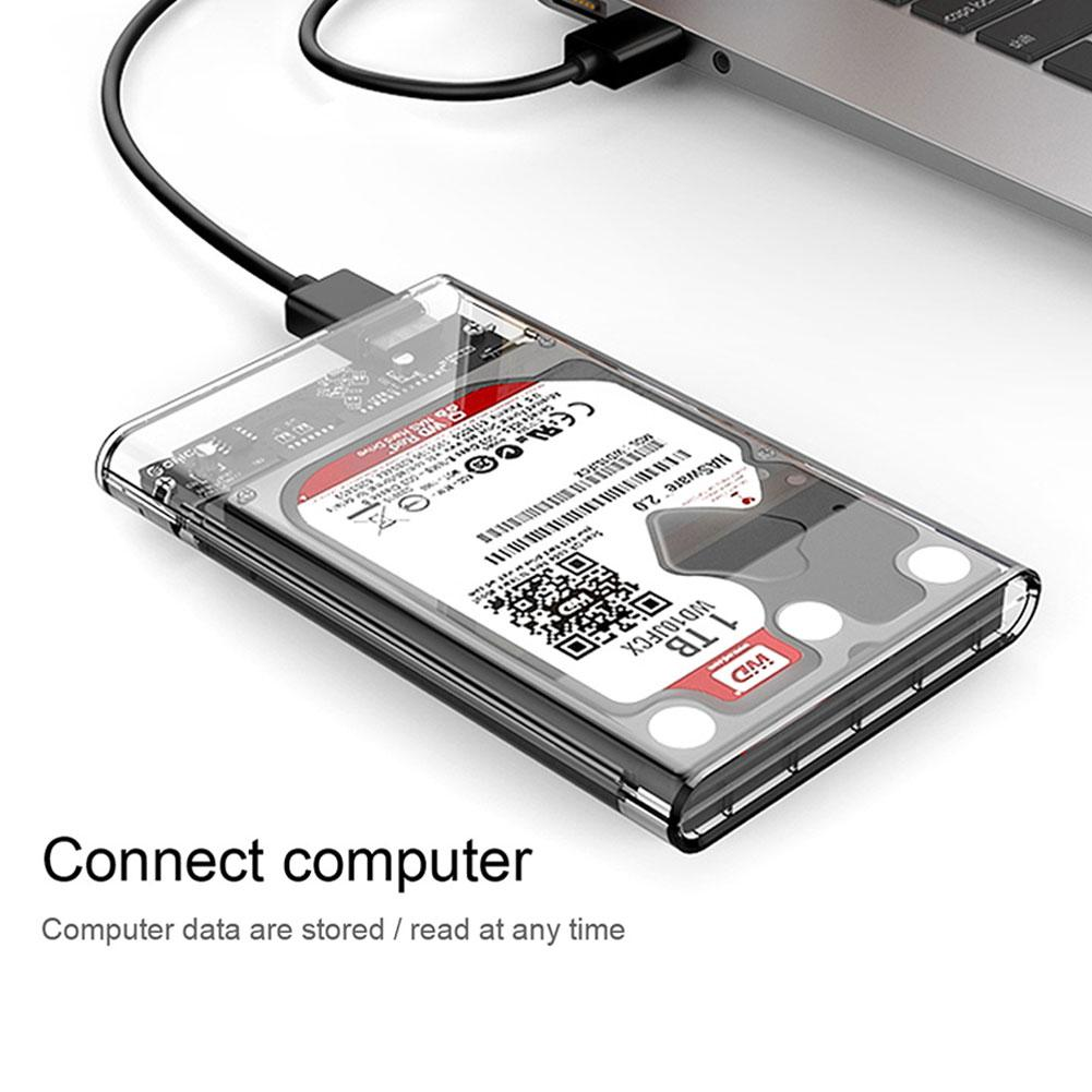 High Speed Clear SATA3 To USB3.0 Mobile HDD SSD Case Box External