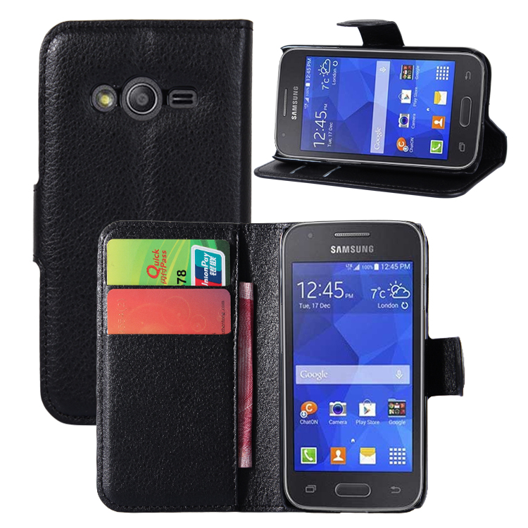 Luxury Wallet Flip Plain Litchi Card Slots Stand Phone Case For <font><b>Samsung</b></font> Galaxy G110H G130 <font><b>G310</b></font> G313H G350E G3500 Cover Cases image