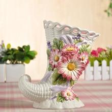 цена на ceramic cerative Horns baskets flowers vase pot home decor crafts room weeding decorations handicraft porcelain figurines