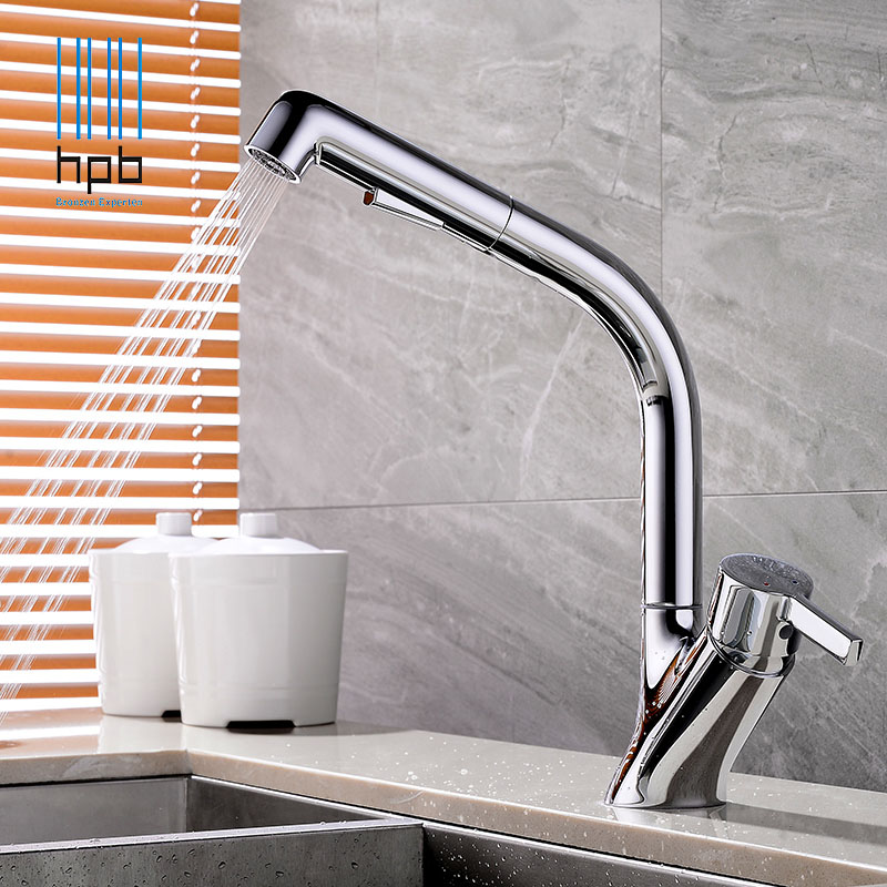 HPB Free Shipping Quality Pull Out Kitchen Faucet Sink Mixer Tap Cold Hot Water taps Chrome Rotary Swivel robinet de cuisine free shipping high quality chrome brass kitchen faucet single handle sink mixer tap pull put sprayer swivel spout faucet