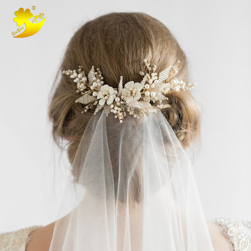 Xinyun Wedding Hair Updo With Veil White Flower Hair Comb Wedding Hair Accessories Bridal Jewelry Hair Crown Headbands Hairband with love hair 6a 13 4 withlove20150201