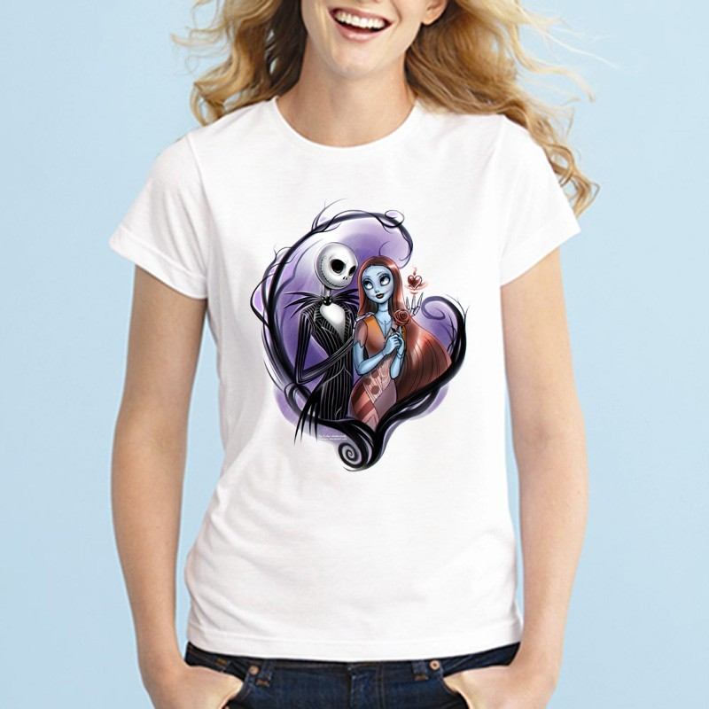Summer Cool Corpse Bride T Shirts Womens Gothic Nightmare Before Christmas T Shirts Crewneck Top Tees Femme Camisetas Plus Size