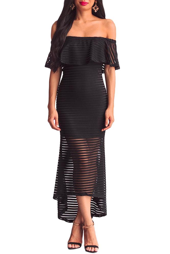 Ladies Women Elegant Sexy Off Shoulder Dress Black White Sheer Mesh ... 09f5a9d6f7d7