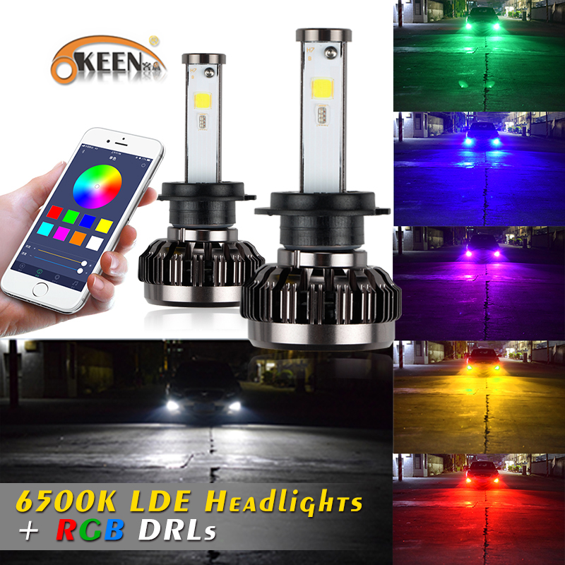 OKEEN car-styling New Car RGB LED Headlight H1 H3 H8/H11 9005 9006 9012 H4 H7 LED Bulbs APP Bluetooth Control 40W 6000ml