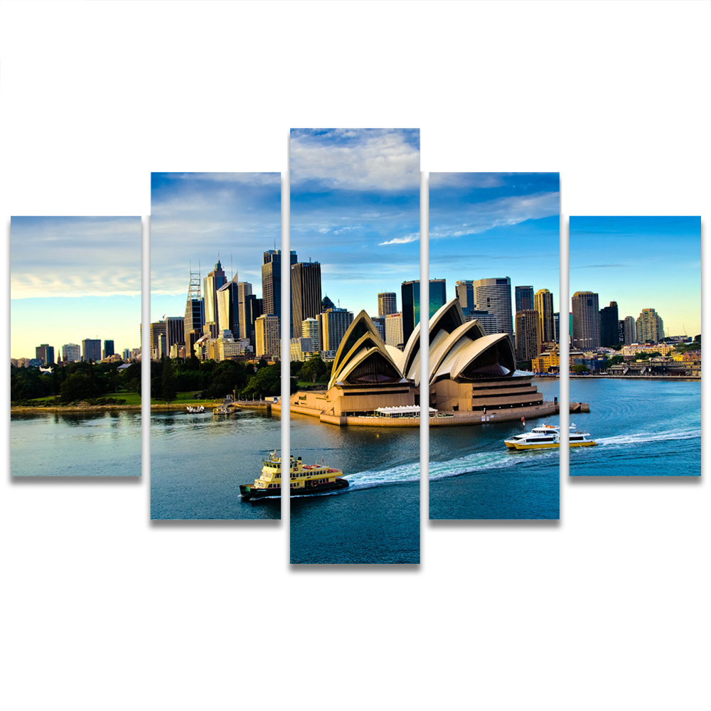 Unframed Canvas Painting Sydney Opera House Skyscraper Bay Photo Picture Prints Wall Picture For Living Room Wall Art Decoration