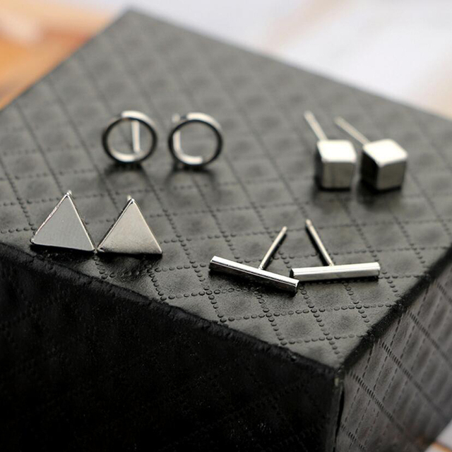 Jisensp Trendy 4pair/Set Geometric Triangle Round Square T Bar Stud Earring for