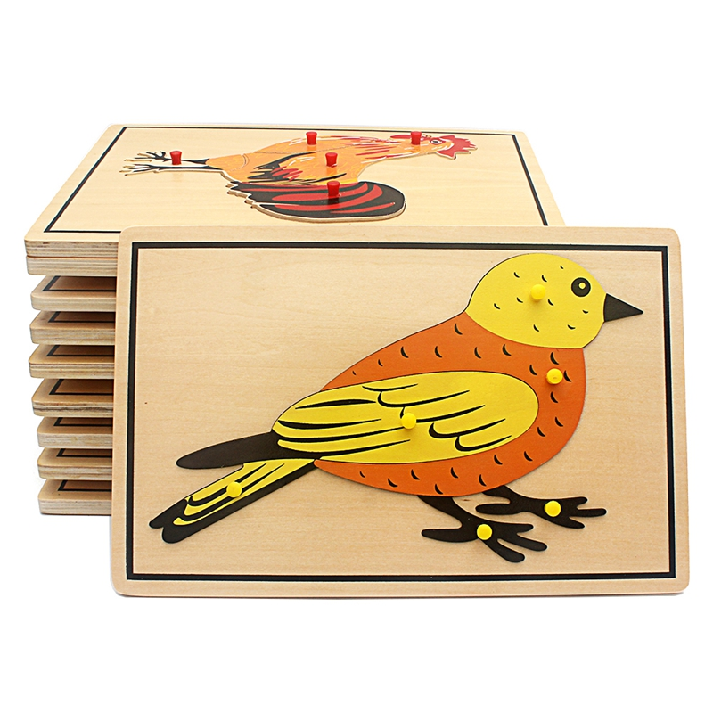 Baby Toy Kids Montessori Cartoon Animal Bird Puzzles For Children Wood For Early Childhood Education Preschool Training Learning