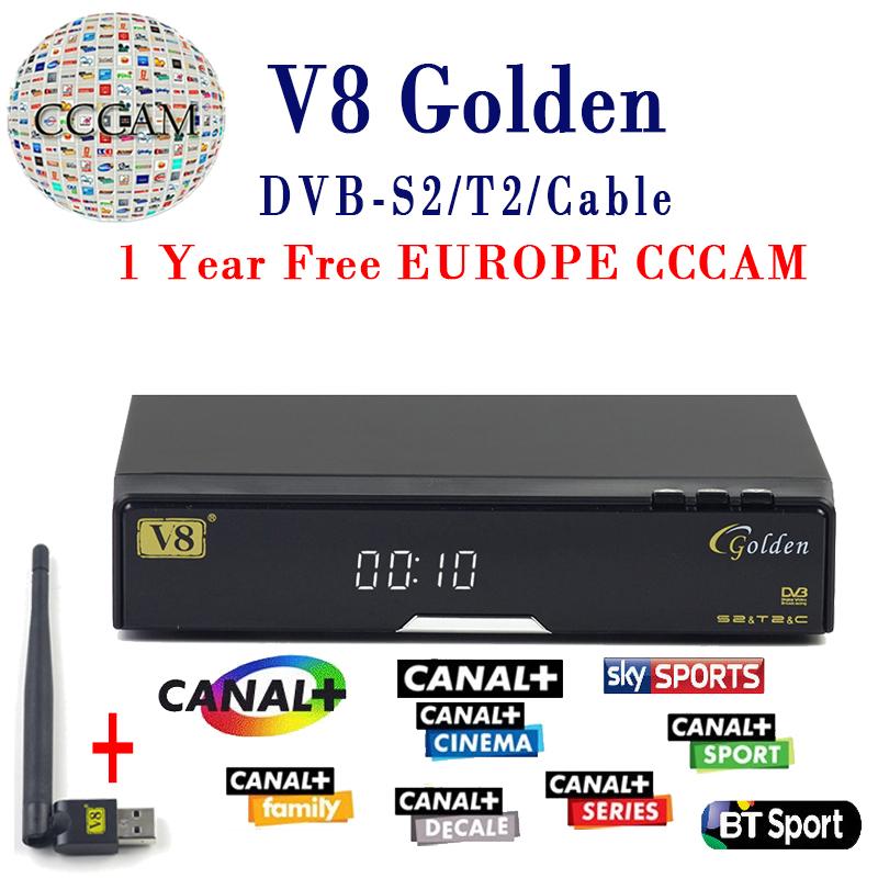 Prix pour V8 Or Satellite Récepteur DVB-T2 DVB-S2 Plein 1080 P HD Avec 1 année cccam cline Europe Ccam Serveur + 1 PC USB Wifi Set top boîte