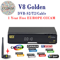 V8 Ouro DVB-S2 Receptor de Satélite DVB-T2 Completa 1080 P HD Com 1 ano cccam cline Servidor Europa Ccam + 1 PC USB Wi-fi Set top caixa