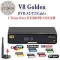 V8 de Oro DVB-S2 Receptor de Satélite DVB-T2 Completa 1080 P HD Con 1 año cccam Europa Cccc cline Servidor + 1 UNID USB Wifi Set top caja