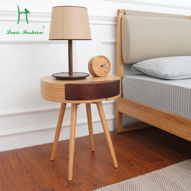 The Nordic Wood Contracted Sitting Room Individuality Creative Storage Receive Small Round Tea Table Drawer