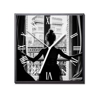 Wall Clock Frame Window Girl Landscape Posters and Prints Moment Mechanism Modern Design Desk Clocks Art Canvas Painting Decor
