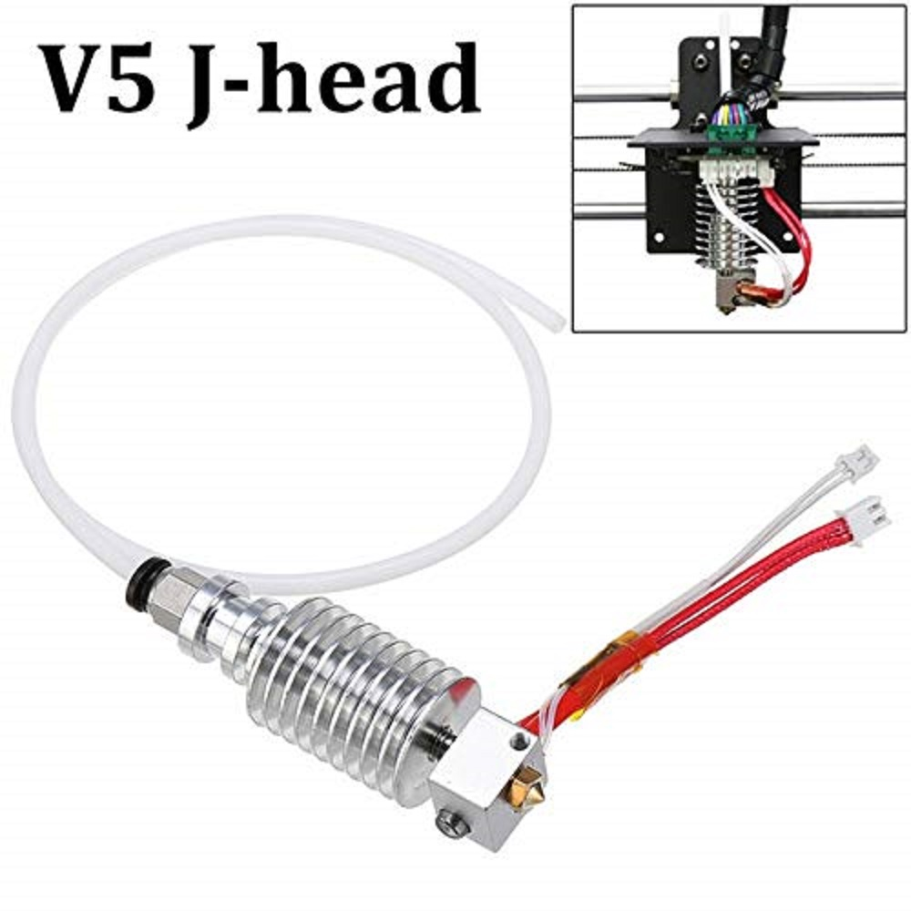 3D Printer Extrusion Print Head Extruder 12V 40W Updated Straight-Type V5 J-Head Hotend With Cable Tube For I3 Mega 3D Printer
