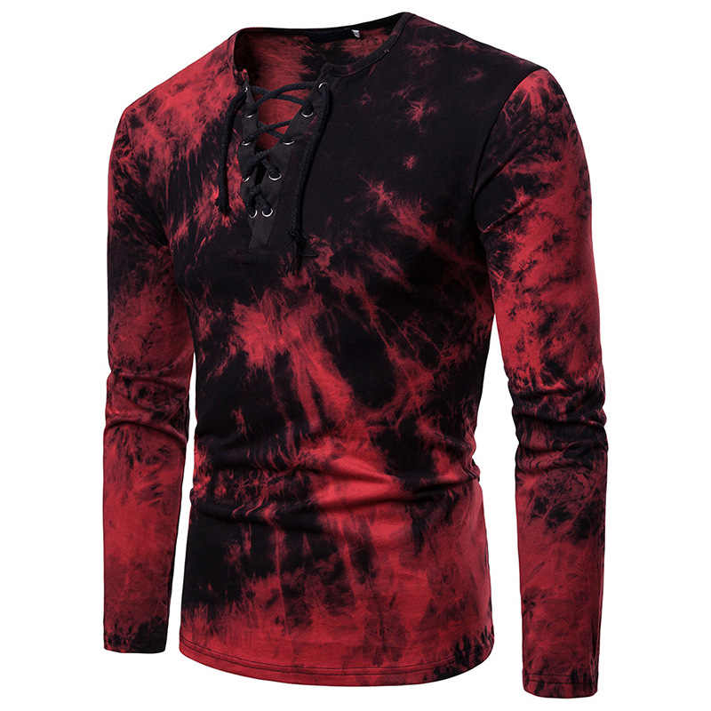 Herren Schottischen Jacobite Ghillie Kilt T Hemd V-ausschnitt Langarm Krawatte Trockenen Druck Männlich Schwarz Lace-up T-shirts hipster Streetwear Homme