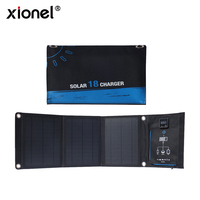 Xionel 18W Solar Portable Battery Charger Foldable High Efficiency Monocrystalline Solar Panel Charger with Dual USB Ports
