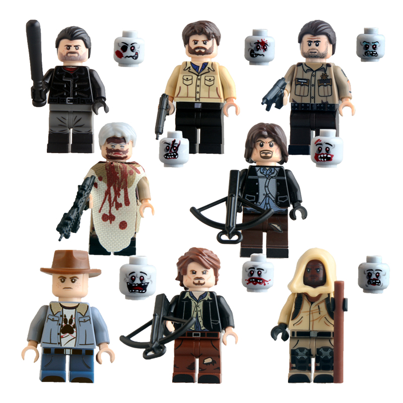 The Walking Dead Building Blocks Figure Carl Rick Grime Carol Daryl Dixon Figures Block Toys For Children Bricks Kids Gifts Toy building blocks the walking dead figures rick negan carl daryl star wars super heroes set assemble bricks kids diy toys hobbies
