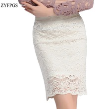 ZYFPGS 2019 Casual Woman Lace Skirt Empire Skirts Women Pencil Hollow Out Plus Size 5XL #D0111