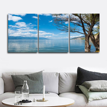 Laeacco Canvas Calligraphy Painting on the Wall Blue Sky Sea Posters and Prints Pictures Abstract Nordic Home Decoration