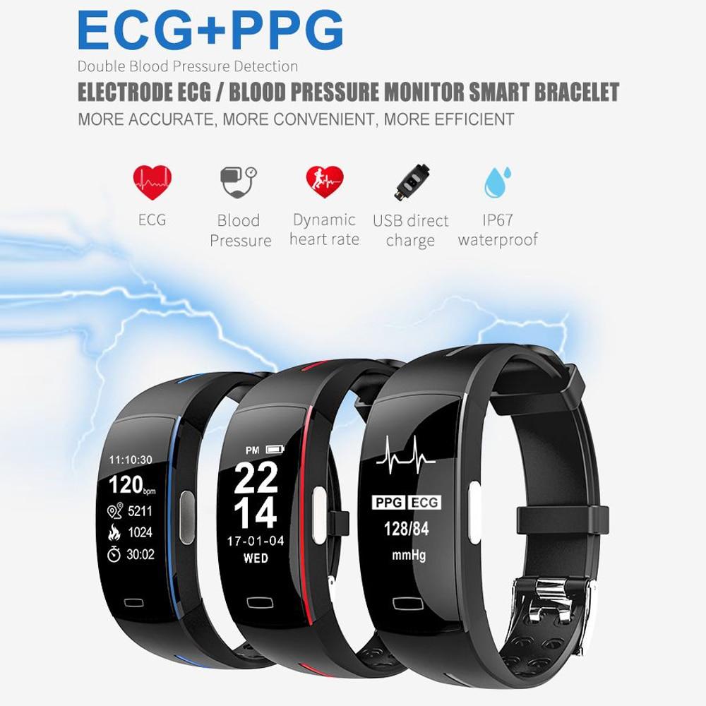 Hangrui P3 Heart Rate Tracker PPG ECG Smart Bracelet Blood Pressure Fitness Tracker Wristband Waterproof Sport Watch Wrist band (46)