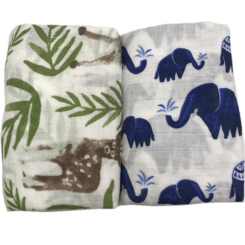 sika deer & elephant printing 100% cotton muslin baby blanket blankets for newborn swaddle bedding very soft 120*120cmsika deer & elephant printing 100% cotton muslin baby blanket blankets for newborn swaddle bedding very soft 120*120cm