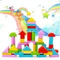 O envio gratuito de 50 de alta qualidade cor formas geométricas montado blocos de construção da primeira infância brinquedos educativos de madeira