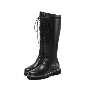 Image 4 - MORAZORA 2020 hot sale genuine leather platform shoes women Motorcycle Boots zip lace up autumn winter knee high  boots female