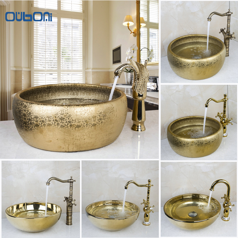 OUBONI New Arrival Bathroom Faucet Round Paint Golden Bowl Sinks / Vessel  Basins Washbasin Ceramic Basin Part 20