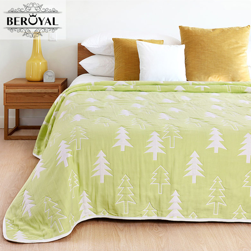 Beroyal Brand 2017 Throw Blanket- 100% Cotton Blanket Six Layers Gauze Adult Summer Blankets for Beds Thicker Muslin Blanket new 2017 throw blanket 1piece 140 190cm cotton gauze terry blankets super soft dotted adult blanket 140 190cm brand