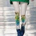 Meias Mídias Pantis Mulher 2016 Mulheres Grossas de Inverno Meia-calça Menina Cor da Tinta de Impressão Perna Retro Mulher Jacquard Calças Justas