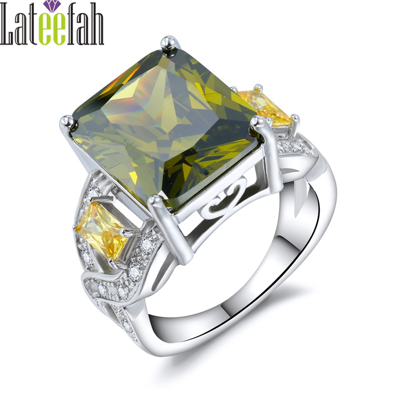 Lateefah Luxury Big Stone Rings for Women Olive Green Cubic Zirconia Silver Color Infinity Ring Female Wedding Ring Anel Bague