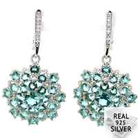 Real 8.1g 925 Solid Sterling Silver Deluxe Rich Blue Aquamarine W CZ Present Earrings 40x22mm