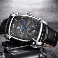 BENYAR Men S Watches Waterproof 30M Genuine Leather Strap Fashion Casual Luxury Quartz Watch Classic Rectangle